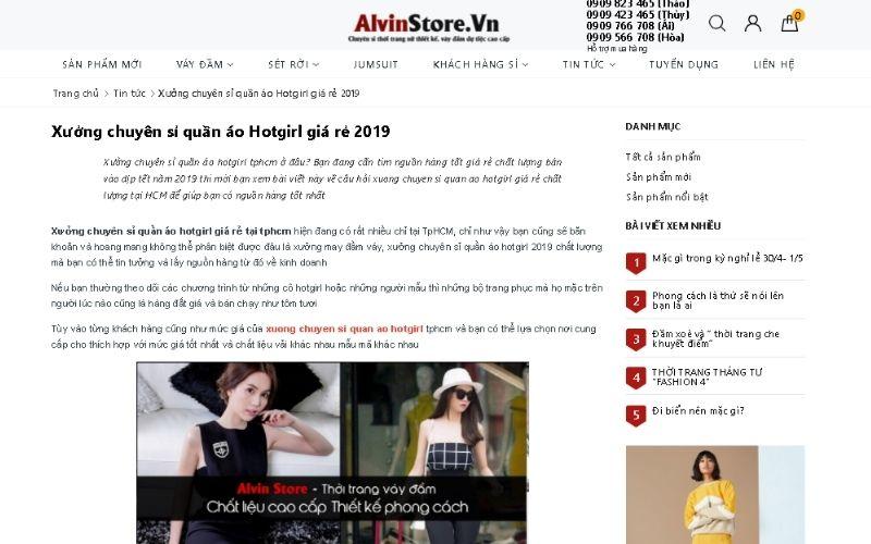 Xưởng chuyên sỉ quần áo hot girl Alvin Store