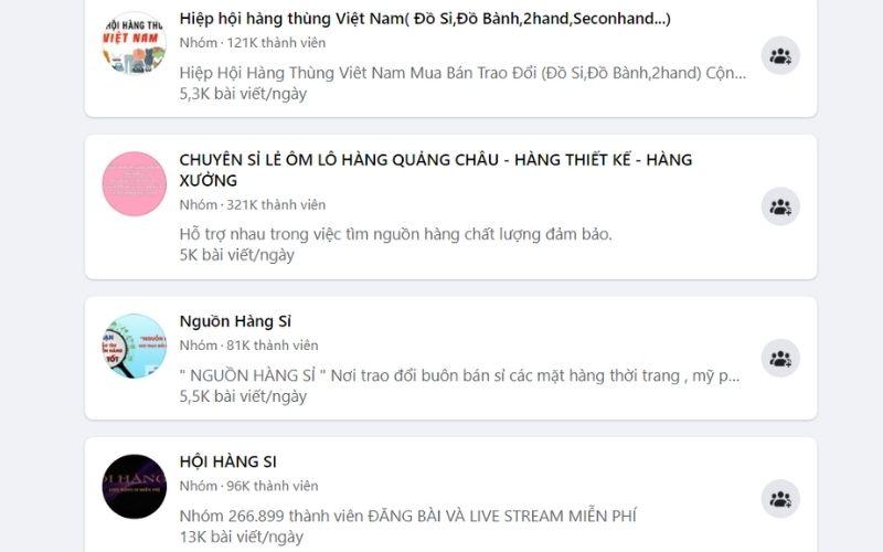 Tìm nguồn hàng sỉ tại các group Facebook
